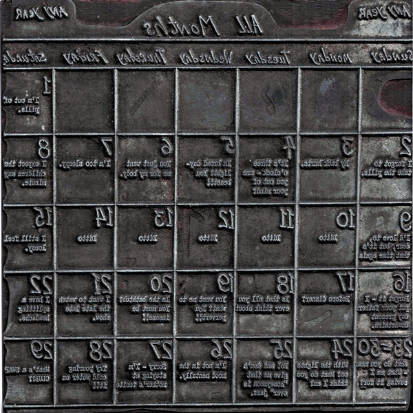Letterpress Block - All Months