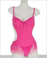 Sheer Mesh Trim Teddy AM-5041