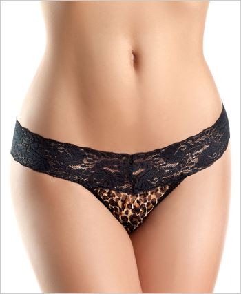 Black Lace Leopard Print Panties
