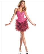 Hot Pink Sequin Feather Dress
