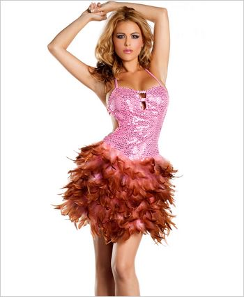 Pink Sequin Feather Dress