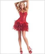 Red Sequin Feather Dress
