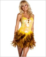 Yellow Sequin Feather Dress