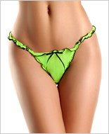 Green, Black Mesh Thong With Ruffles And Bow