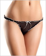 Black, White Mesh Thong With Ruffles And Bow