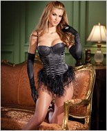 Feather Hem Black Bustier