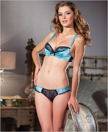 Aqua Satin 2 Piece Padded Bra Set