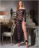 Open Shoulder Black Lace Long Sleeve Gown