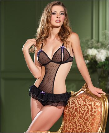 Black Crotchless Thong Teddy