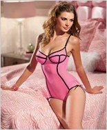 Sheer Pink Teddy With Contrast Binding