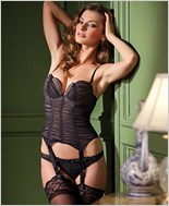 Ruched Style Black Bustier And Thong