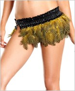 Yellow Spotted Feather Skirt