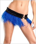 Blue Ostrich Feather Skirt