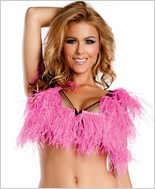 Hot Pink Ostrich Feather Crop Top