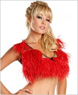 Red Ostrich Feather Crop Top