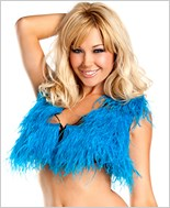 Turquoise Ostrich Feather Crop Top