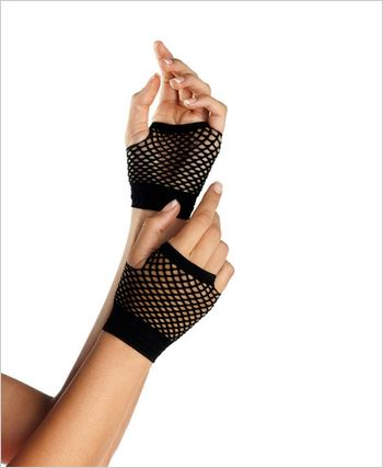 Black Fingerless Fishnet Wrist Gloves