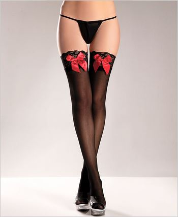 , Lace Top Thigh Highs With Satin Bows