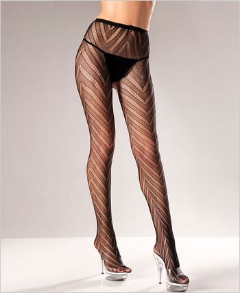 Diagonal Patterned Pantyhose