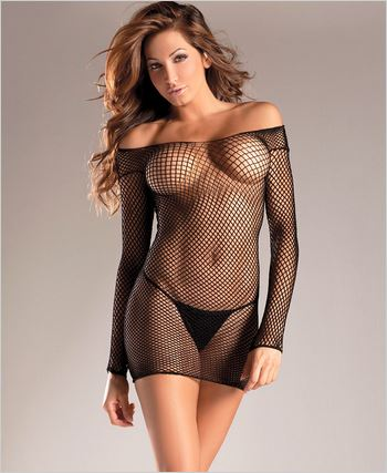Industrial Net Strapless Mini Dress