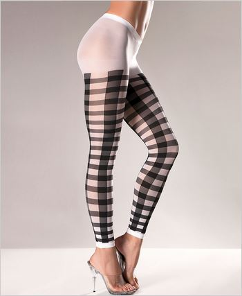 Black Lattice Work Nylon Leggings