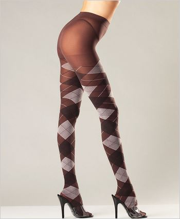 Brown Argyle Tights
