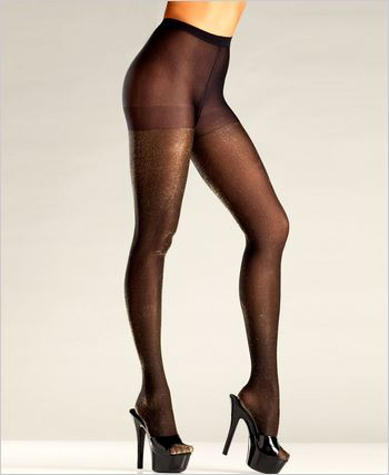 Black Pantyhose With Gold Shimmer Accent