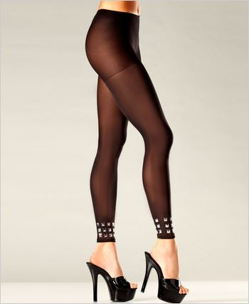 Footless Pantyhose With Studded Cuffs