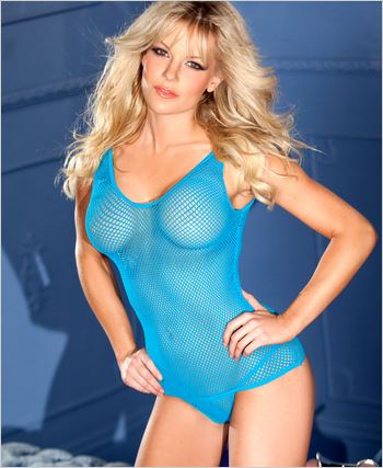 Blue Fishnet Tank Top With Panty