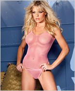 Candy Pink Fishnet Tank Top With Panty