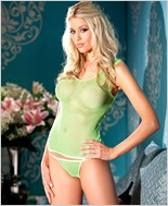 Lime Green Fishnet Tank Top With Panty