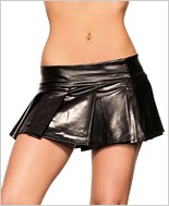Pleated Black Vinyl Skirt