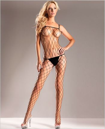 Diamond Net Spaghetti Strap Bodystocking