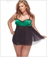 Plus Size Mesh Babydoll With G-String