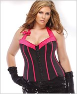 Plus Size Black And Fuchsia Satin Corset