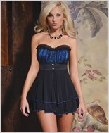 Black And Blue Babydoll Set