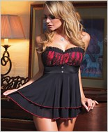 Black And Red Babydoll Set