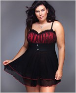 Plus Size Black And Red Babydoll Set