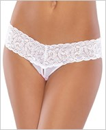 Plus Size Lace Crotchless Thong