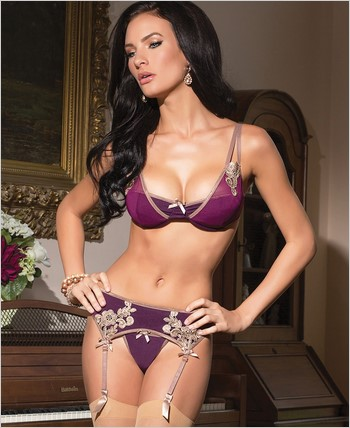 Bra, Garter, And G-String Set CQ-1419