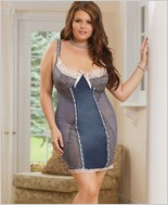 Plus Size Satin And Powernet Chemise  CQ-1427X
