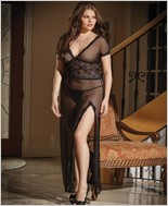 Plus Size Long Mesh Gown  CQ-1431X