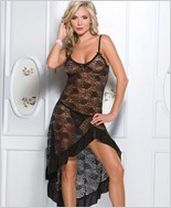 Black Lace Gown And G-String