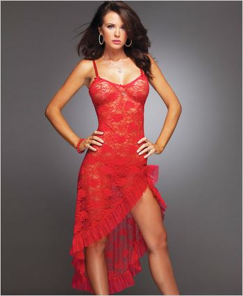 Red Lace Gown And G-String