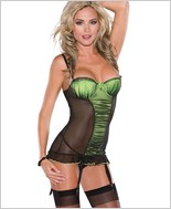Plus Size Black And Green Mesh Chemise