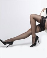 Plus Size Sheer Stockings With Lace Top