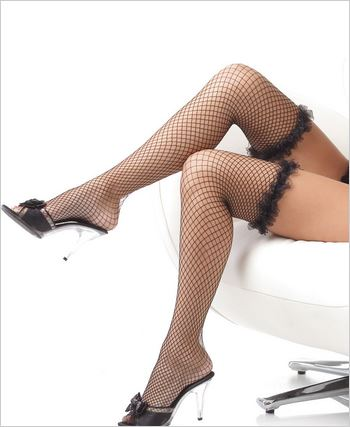 Fishnet Stockings With Ruffle