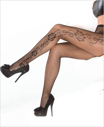 Fishnet Pantyhose With Rose Detail
