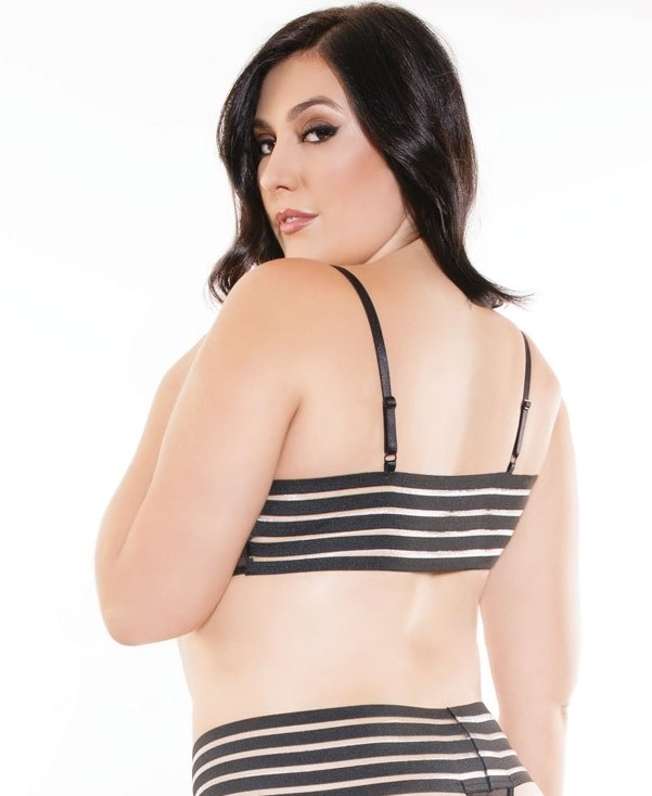 5a9adc55cd649 Plus Size Mesh Bralette with Striped Elastic Back CQ-187X
