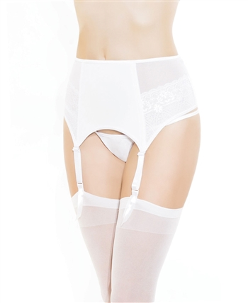 Fully Boned Garter Belt with Scalopp Lace CQ-193